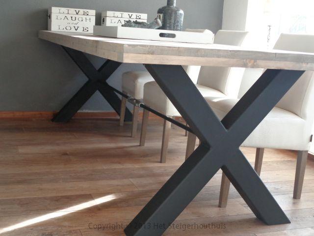 Industriele Tafel Goedkoop : Tafel cross industrieel extra het steigerhouthuis