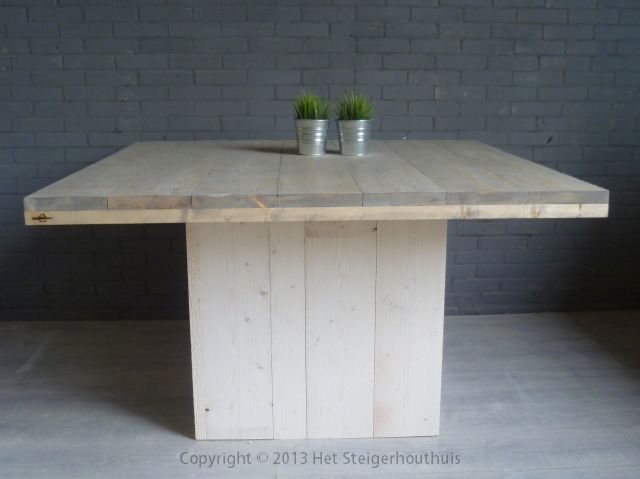 Vierkante Eettafel Steigerhout.Tafel Vierkant Blok